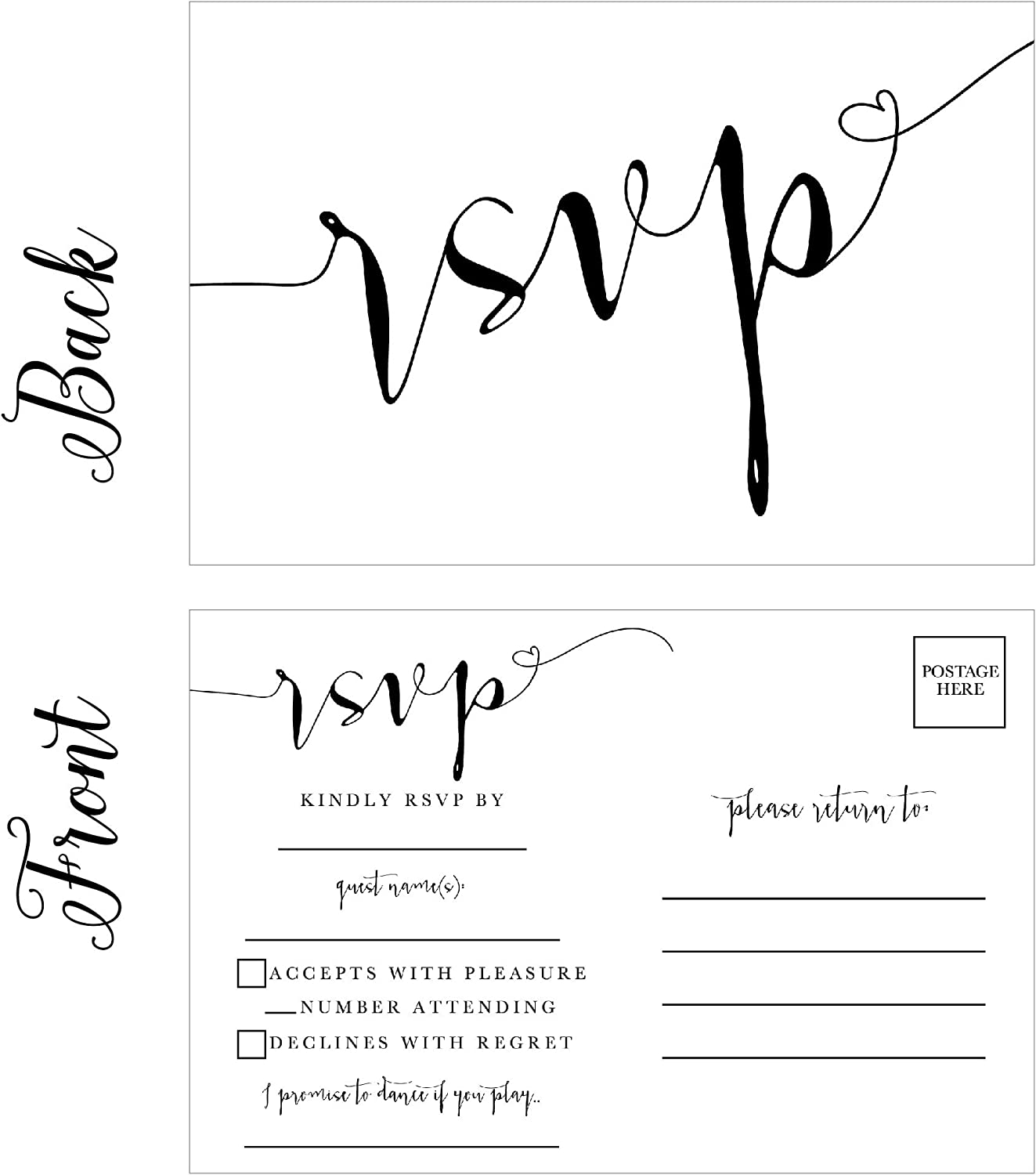 Amazon Com 50 Blank Rsvp Cards Rsvp Postcards No Envelopes Needed Response Card Rsvp Reply Rsvp For Wedding Rehearsal Dinner Baby Shower Bridal Shower Birthday Engagement Bachelorette Party Invitations Office Products