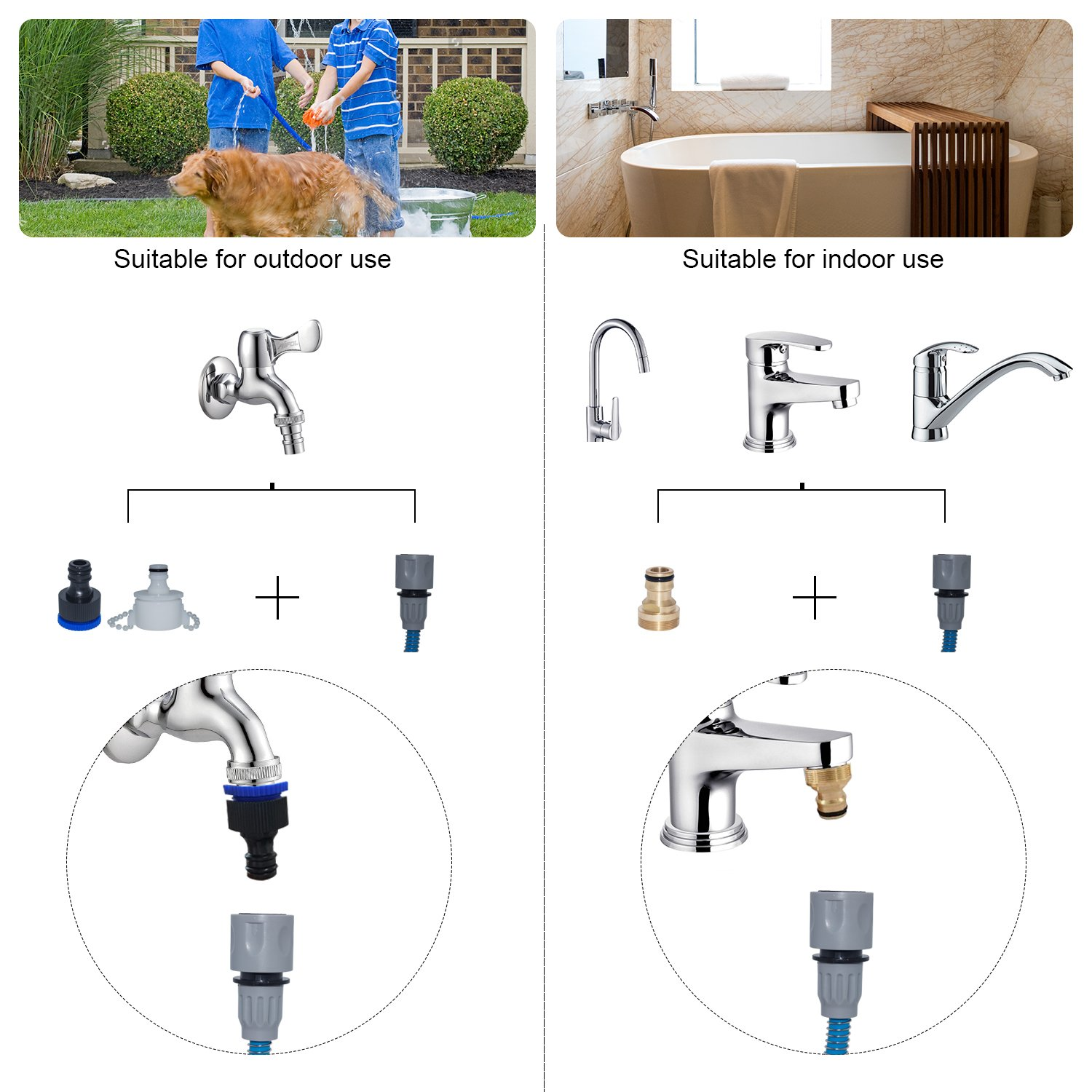 Pet Shower Tool with Nozzle, loveone(TM) Dog Bathing Sprayer with 3 Hose Adapters, Portable Grooming Tools Adjustable Silicone Massage Brush for Dogs/ Cats/ Horses/ Animals Suit for Outdoor/ Indoor by loveone (Image #5)