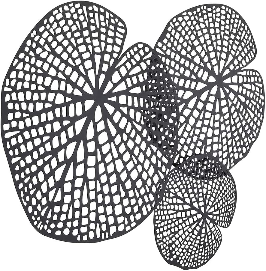 """Lechesis Black Metal Leaf Wall Art Decor - Rustic Wrought Iron Lotus Leaves Wall Art Sculptures Decoration - 25 2/5"""" x 20 1/2"""" - Ready to Hang"""