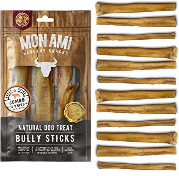 Mon Ami Bully Stick Jumbo 5-6 inch 11oz. 12 Units Natural Dog Treat - Argentinian Meat