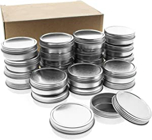 Mimi Pack 24 Pack Tins 1 oz Shallow Round Tins with Solid Screw Lids Empty Tin Containers Cosmetics Tins Party Favors Tins and Food Storage Containers (Sliver)
