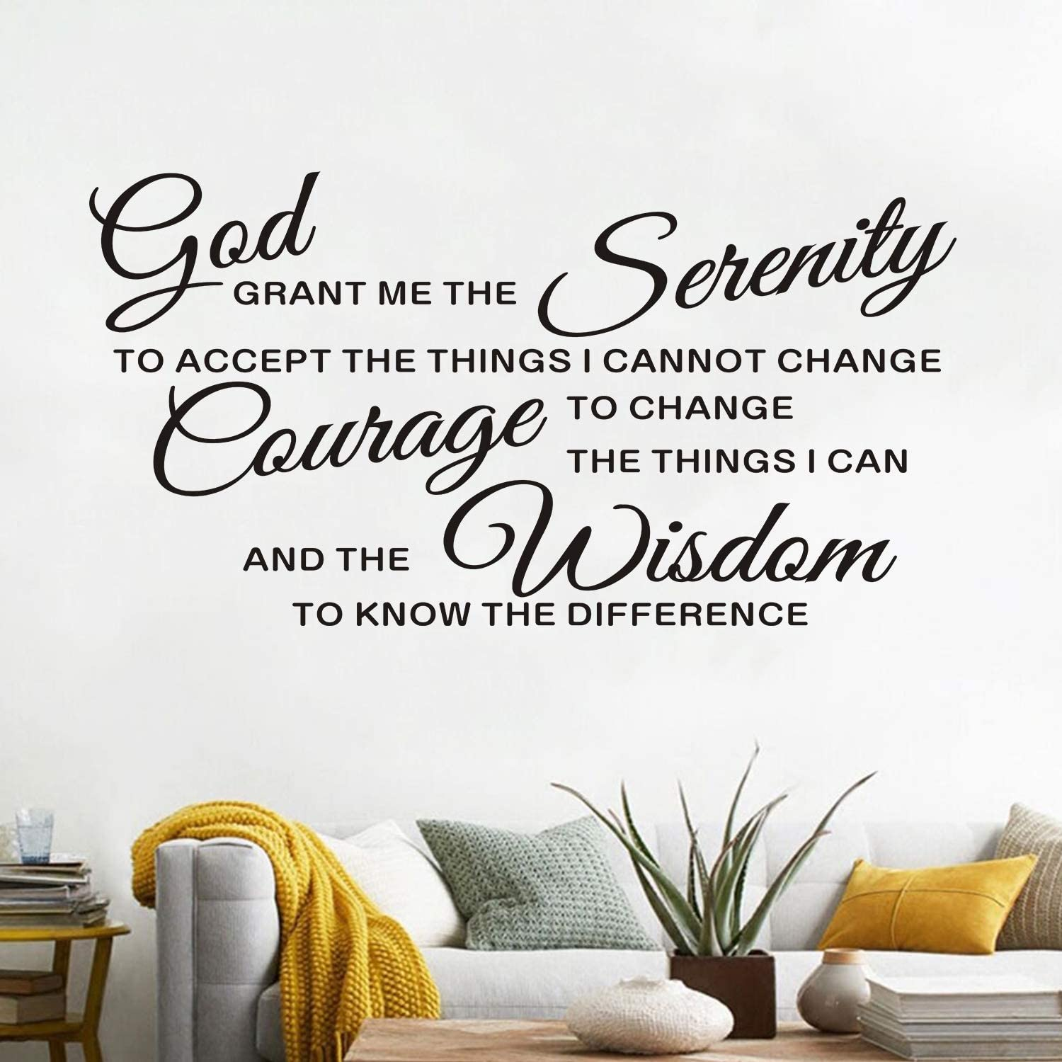 AnFigure Wall Decals for Living Room, Quotes Wall Decal, Bedroom Family Christian Bible Verse Religious Faith Biblical Jesus Bathroom Home Art Decor Vinyl Stickers God Grant Serenity Prayer 21