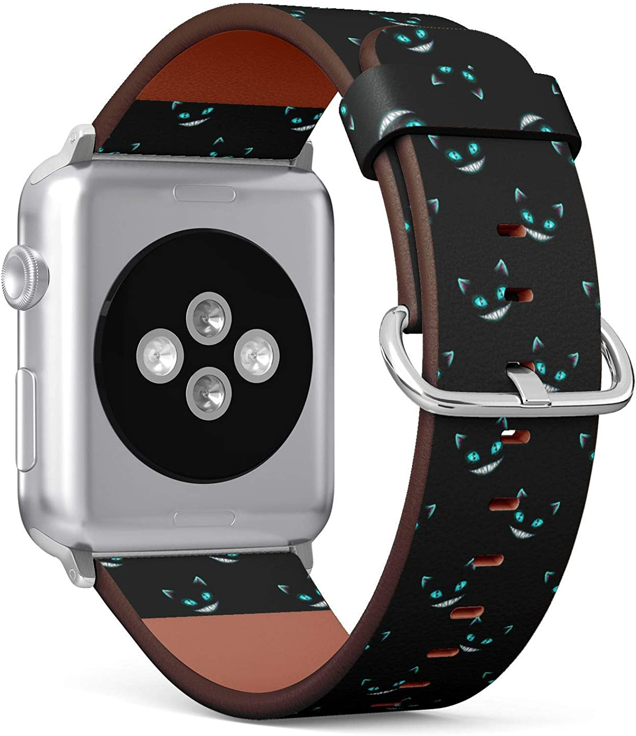 ( Disappearing Cheshire Cat faces on black background )Patterned Leather Wristband Strap for Apple Watch Series 4/3/2/1 gen ,Replacement for iWatch 38mm / 40mm bands