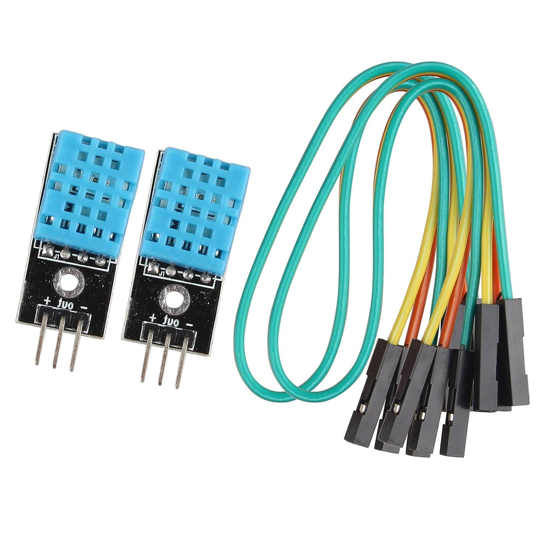 HALJIA 2Pcs DHT11 Digital Temperature Humidity Sensor Module for Arduino