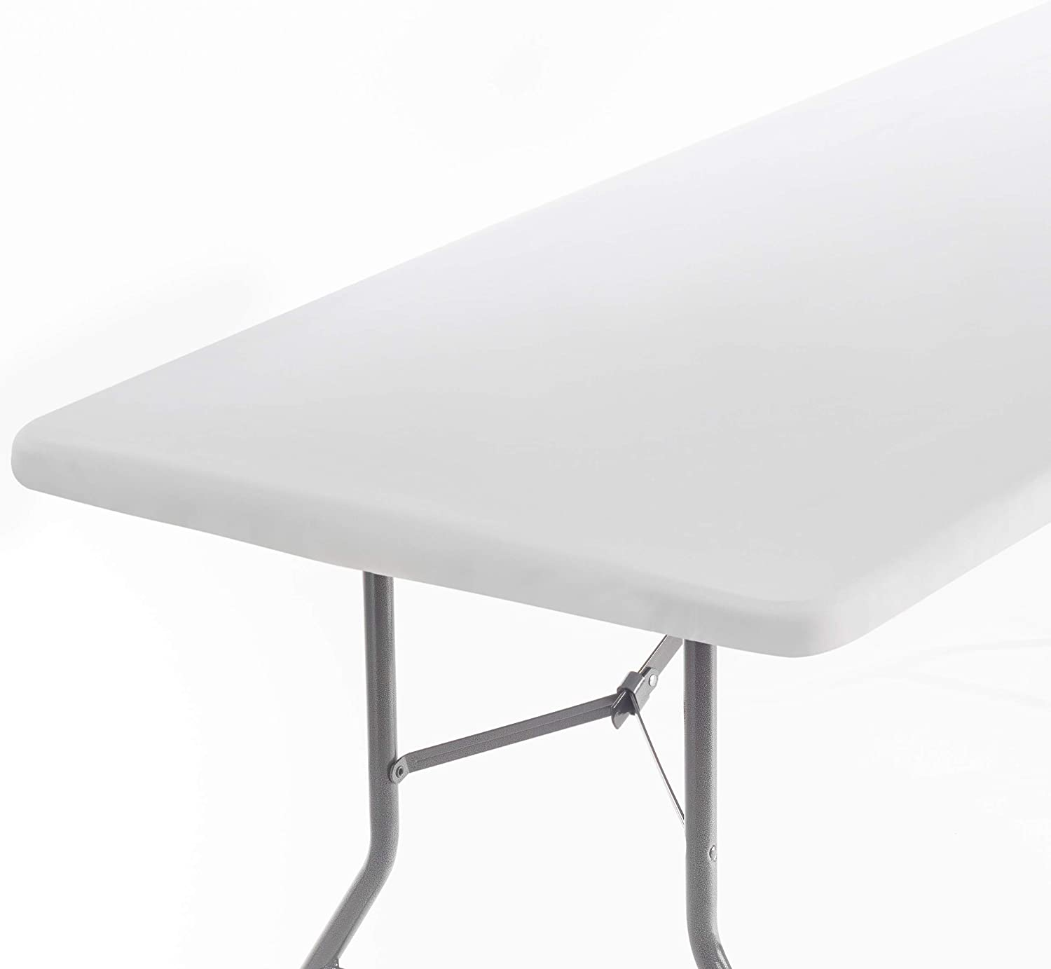 Signature Home Fitted Tablecloth Rectangle White Table Cover - 72 x 32 in Table Cloth - Fitted Table Covers for 6 Foot Tables. Washable Picnic Table Cover Indoor Outdoor Tablecloth Elastic Tablecloth