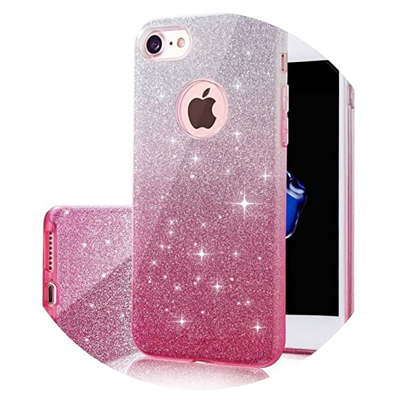 2bf99b6d644 Amazon.com: for Apple iPhone 6 6S 7 8 Plus Case Silicon Glitter Luxury  Bling Phone Cases Funda for iPhone X 10 Cover Case Coque Capa,Pink1,for iPhone  6 6S: ...