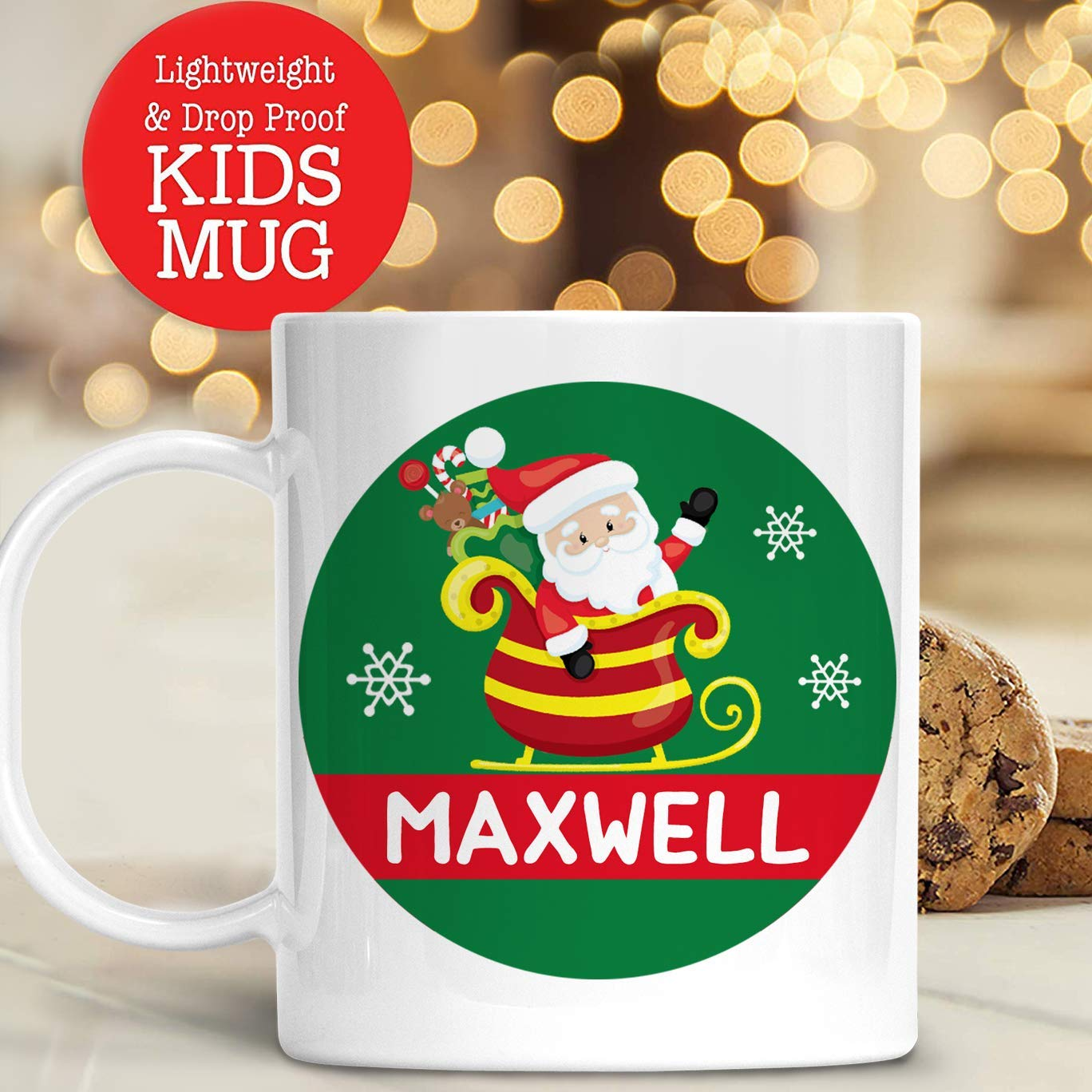 Amazon.com: Kids Personalized Santa Sleigh Christmas Cup with Name ...