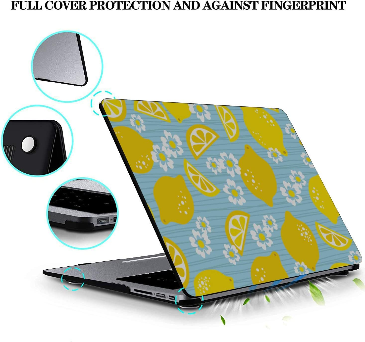 Laptop Hard Case Summer Fashion Flower Fruit Lemon Plastic Hard Shell Compatible Mac Air 11 Pro 13 15 MacBook Pro Case 15 Protection for MacBook 2016-2019 Version