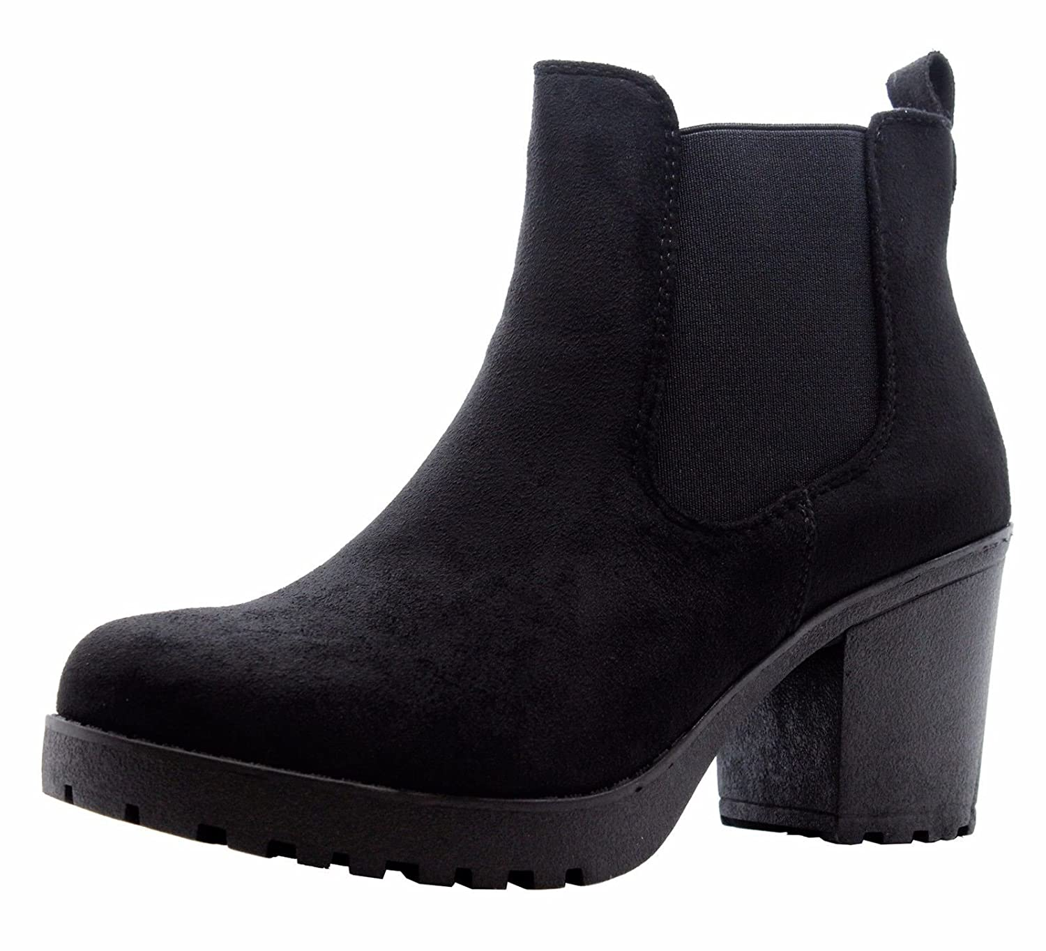 535c2972f31 Ladies Womens Block Chunky Heels Chelsea Ankle Boots Grip Sole Office Shoes  Size 3-8  Amazon.co.uk  Shoes   Bags