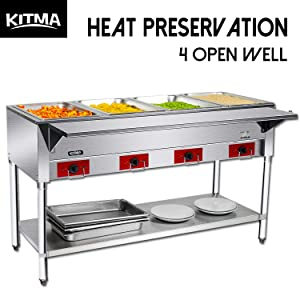 110 V Commercial Electric Food Warmer – Kitma 4 Pot Stainless Steel Steam Table, Buffet Server for Kitchen and Restaurant