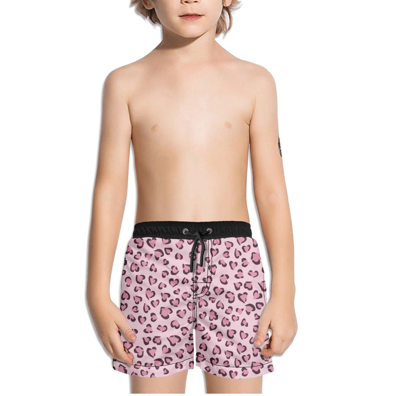 Ouxioaz Boys Swim Trunk Pink Heart Leopard Print Beach Board Shorts