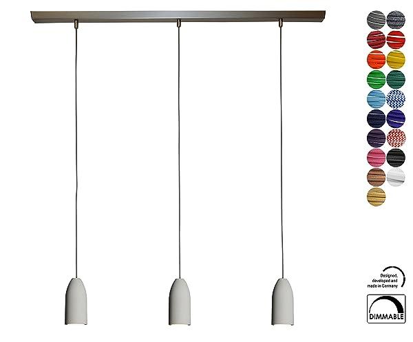 Hänge Lampe 3 Flammig Dimmbar, Textilkabel Grau (19 Farben), Deckenleuchte