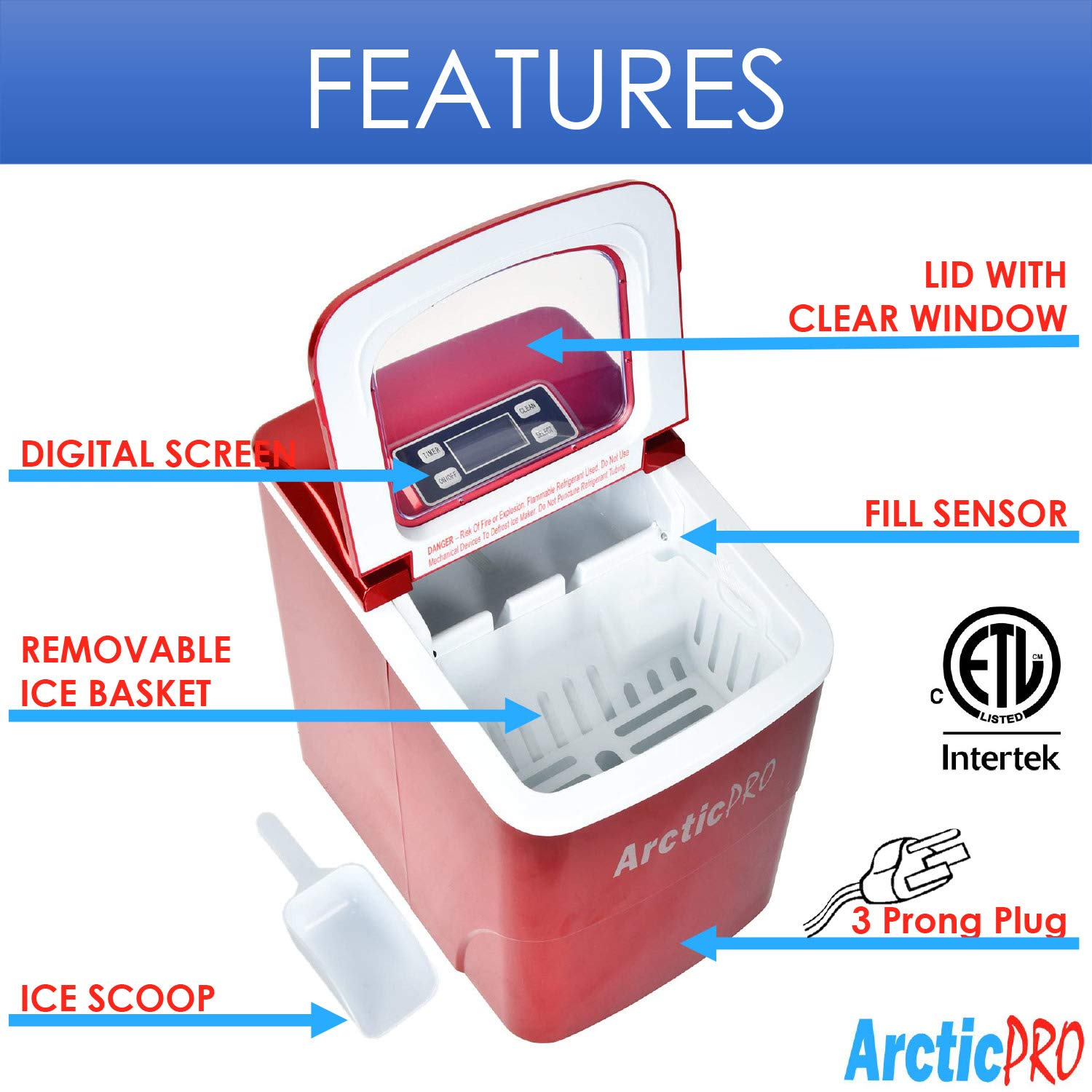 PORTABLE DIGITAL ICE MAKER MACHINE by Arctic-Pro with Ice Scoop Tailgating Bars Great for Kitchens First Ice in 8 Minutes 26 Pounds Daily Red Parties Small//Large Cubes 11.5x8.7x12.5 Inches