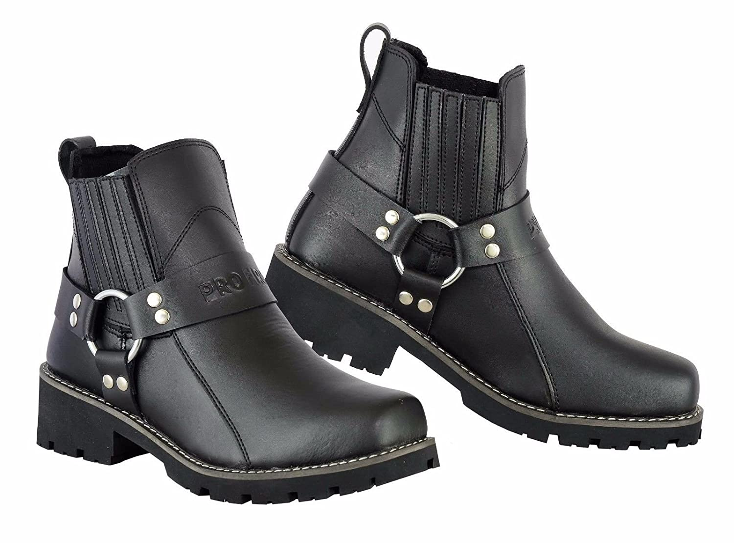 PROFIRST Pure Leather Pull on Chappar Mens Boots Motorbike Motorcycle Waterproof Touring Short Shoes UK 12 // EU 46 Zip Full Black Lace /& Strap Free ? Comfort Guaranteed
