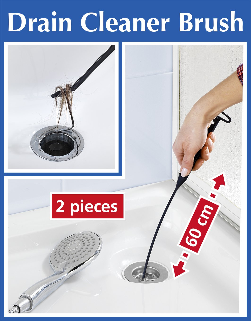 60cm pack of 2 extra long flexible kitchen sink overflow brush drain unblocker amazon co uk kitchen home