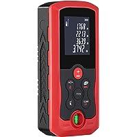 LISIBA 70m HD Télémètre Laser Numérique, Portable de Metre Laser, Précision 1mm, Calcule Distance/Surface/Volume/Pythagore, LCD Rétro-éclairage, Niveau à Bulle Intégré, Noir