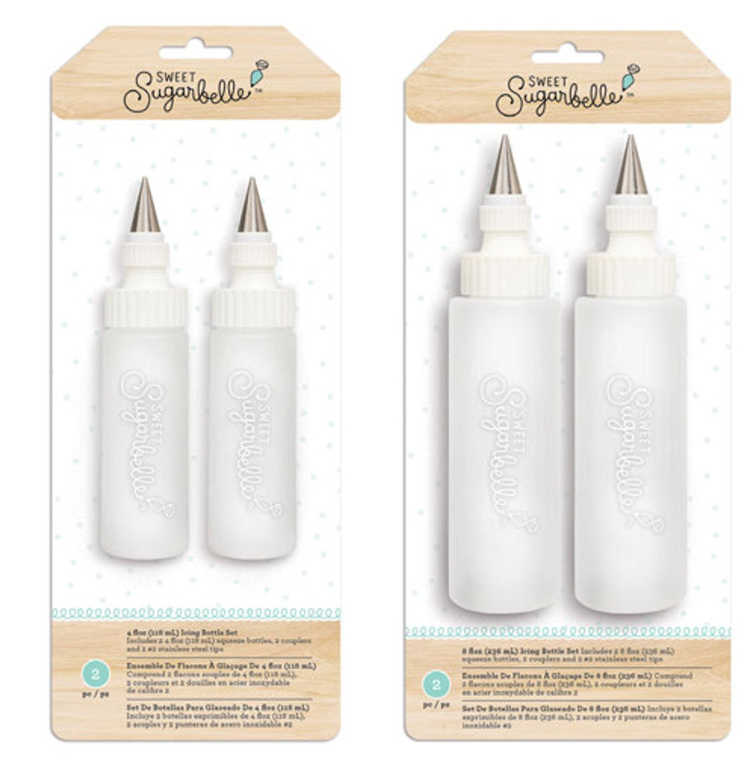 Amazon.com: Sweet Sugarbelle Cookie Icing Bottles - 4 Ounce & 8 Ounce Squeeze Bottles with Couplers and Stainless Steel Tips: Kitchen & Dining