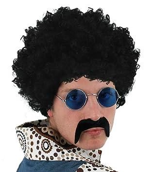 ILOVEFANCYDRESS Hombre Años 70 Set Negro Peluca Afro + Negro Bigote + Gafas Redondas Accesorio de
