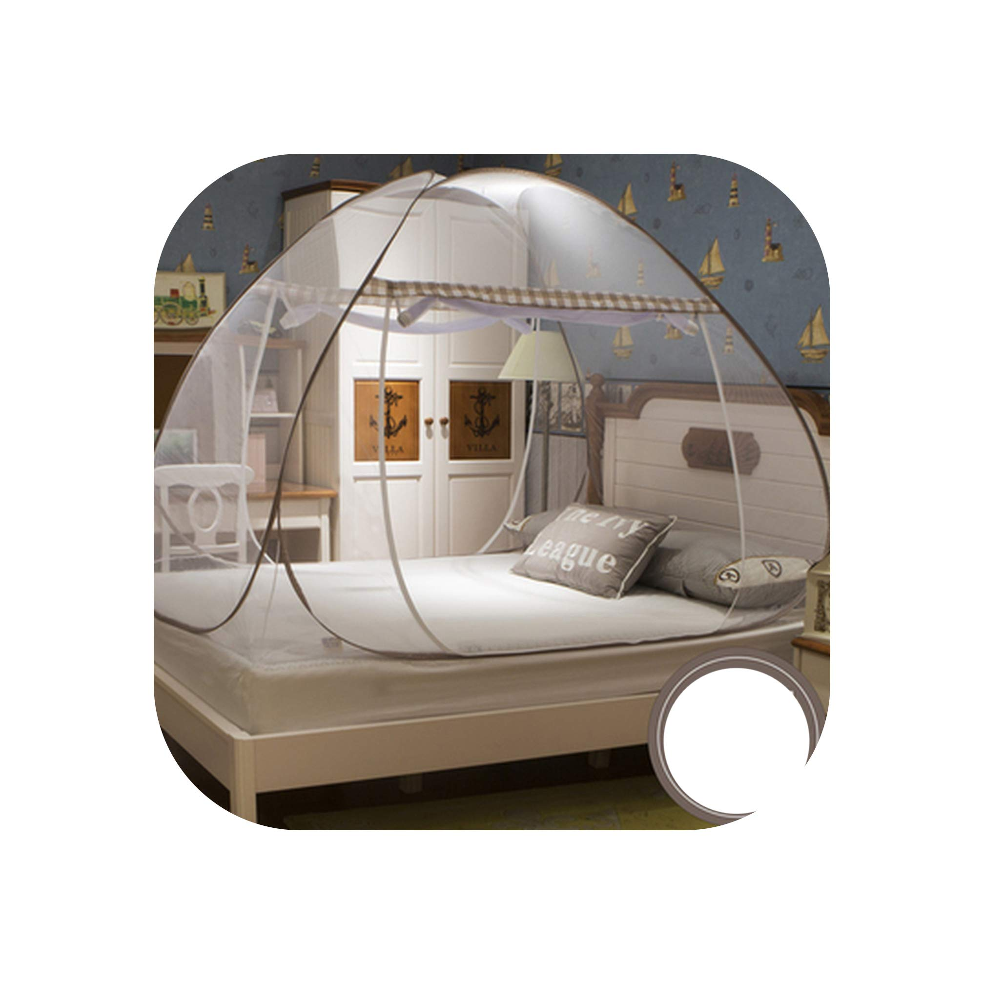 Portable Round Mosquito Net for Single Double Bed Adults Bed Canopy Home Bug Insect Bed Tent Anti Mosquito Mesh Netting klamboe,Brown,1.8m (6 feet) Bed