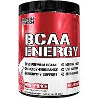 Evlution Nutrition BCAA Energy | Acide Aminé En Poudre Pour Augmenter La Récupération Et La Résistance Des Muscles | Emballage de 30 Doses | Goût Punch Aux Fruits