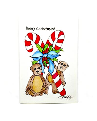 Christmas Cards To Print.Amazon Com Christmas Card Teddy Bears Print From Original