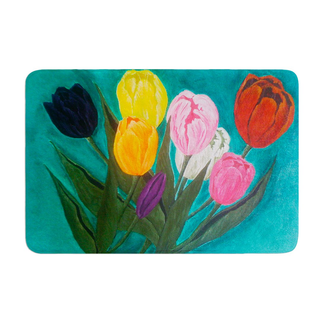 Kess InHouse Christen Treat Tulips Rainbow Flower Memory Foam Bath Mat 17 by 24