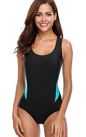 8f00e03d429 ATTRACO Women Splice Training Swimwear One Piece Pro Swimwear Black Small