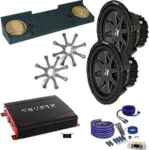 "KICKER for GMC 88-98 Sierra CVR102 10"" Truck Bundle with Crunch PX2000.1D 2000 Watt Max Mono Amp, Enclosure, Wire Kit"