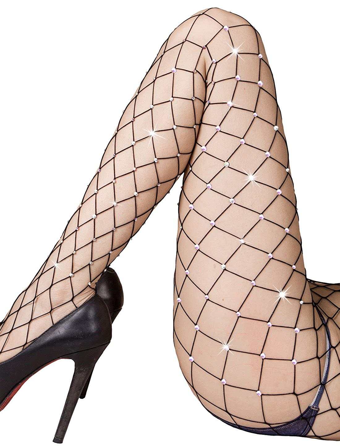 c8266c35f0d47f Sexy fishnet tights for women and ladies. Rhinestone fishnet stockings for  party and club. Soft shinning net pantyhose for daily life and raves