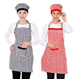 Switchon Cotton Kitchen checkered Apron with Cap