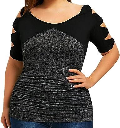 FAMILIZO Camisetas Sin Hombros Mujer Tallas Grandes XL~5XL Camisetas Mujer Verano Blusa Mujer Elegante Hueco Camisetas Mujer Manga Corta Algodón Camiseta Mujer Camisetas Mujer Fiesta: Amazon.es: Ropa y accesorios