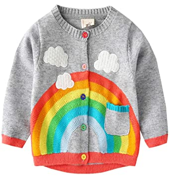 57726c963 Amazon.com  Boys Girls Rainbow Cardigans Sweaters Knitted Button ...