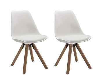 Duhome Elegant Lifestyle Stuhl Esszimmerstuhle Kuchenstuhle 2 Er Set In  Weiss Kuchenstuhl Mit Holzbeine