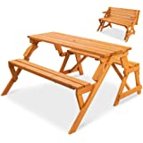 Best Choice Products 2-in-1 Transforming Interchangeable Outdoor Wooden Picnic Table/Garden Bench for Backyard, Porch, Patio,