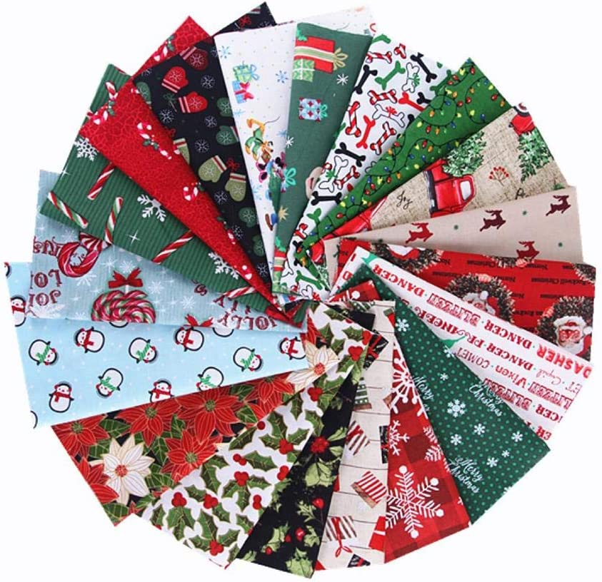 LEOWOO Christmas Series Patchwork Cloth Group Plain Weave Cloth Small Floral Cotton Cloth Cut Fat Quarters Fabric Bundles for Sewing and Quilting Supplies