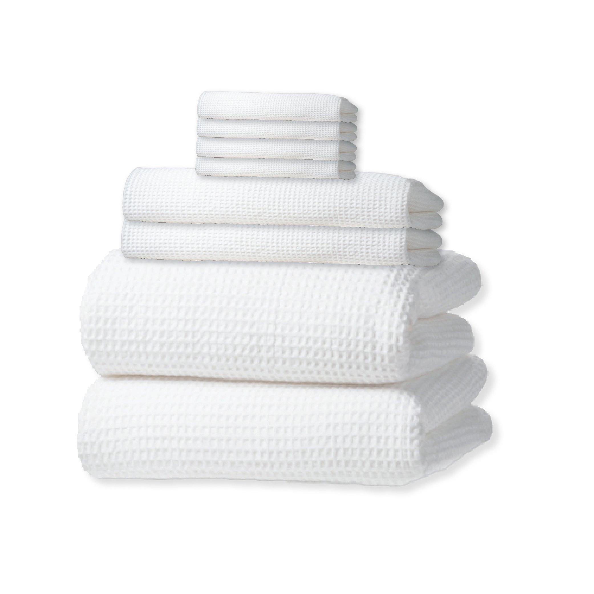 Waffle Weave Bath Towel Set with Bath Mat - Classic Style (White)