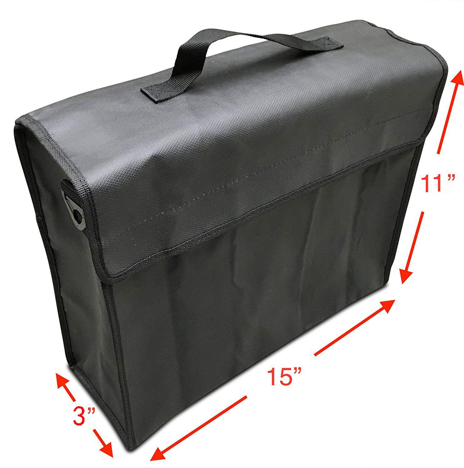 Non Itchy 15 x 11 x 3 Inches Strong Double Layer Heat Protection Large Fireproof Document Bags and Money Bag - File Box for Home Key XL Fire Safe Water Resistant Pouch to Protect Jewelry Cash