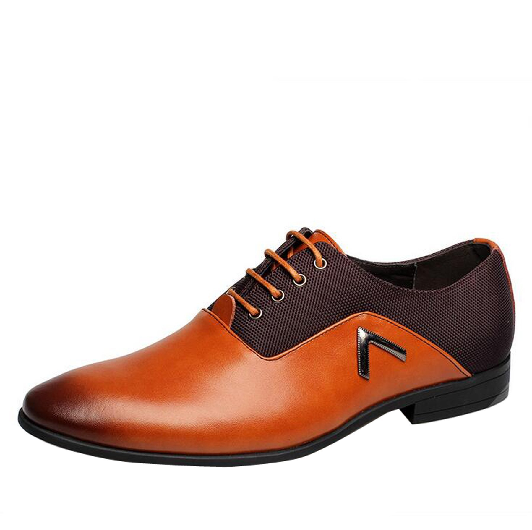 Men Pointed Toe Business Dress Formal Leather Shoes Flat Oxfords Loafers Slip On Yellow by Gaorui