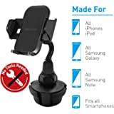 "Macally Cup Holder Phone Mount for Car - Adjustable Neck, Base, & Cradle with Quick Release Button - Fits Phones 1.7"" to…"