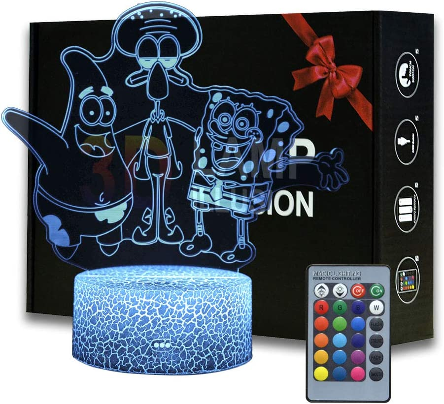 3d Illusion Spongebob Squarepants Night Light Cartoon Desk Lamp With Remote Control Kids Bedroom Decoration Creative Lighting For Kids And Spongebob Squarepants Fans Group Amazon Com