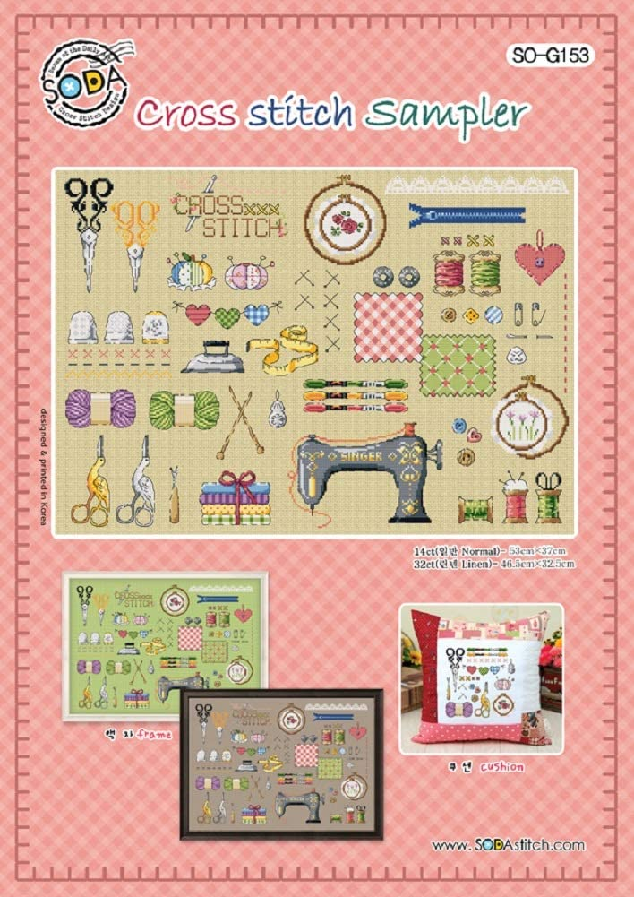 Authentic Korean Cross Stitch Design SODA Cross Stitch Pattern Leaflet Cross Stitch Pattern Chart Color Printed on Coated Paper SO-G153 Cross Stitch Sampler