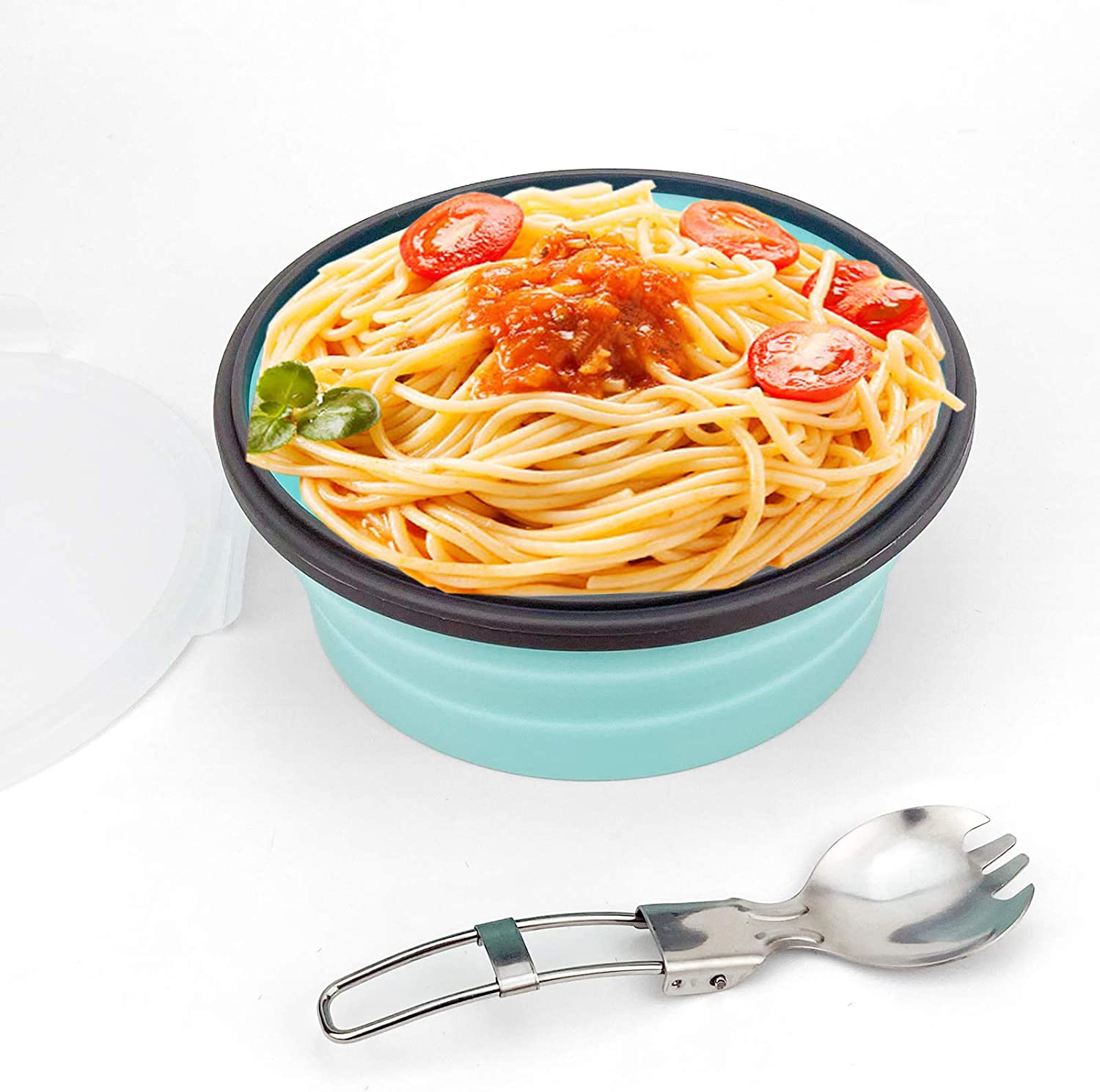 CCyanzi 1200ml Collapsible Camping Bowl Silicone Food Storage Container with Lid and Foldable Stainless Steel Fork Spoon, for Picnic, Travel, Camping, RV, Fridge and Microwave Bowls