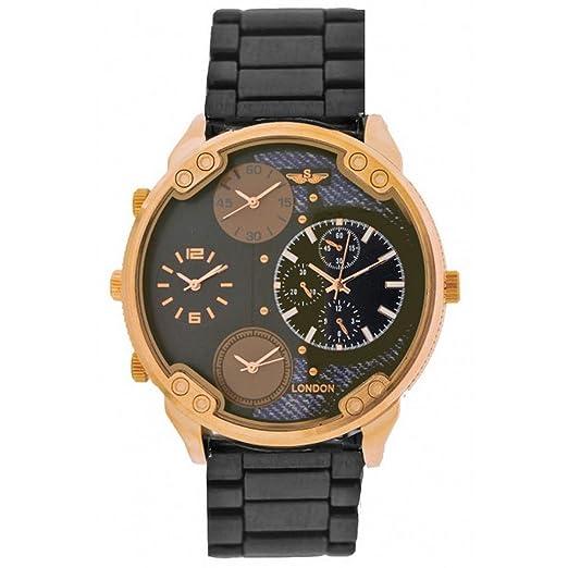 46b7d07d4c0b Softech Men s Gun Metal with Rose Gold Dial Four Time Zones Metal Strap Wrist  Watch Analog
