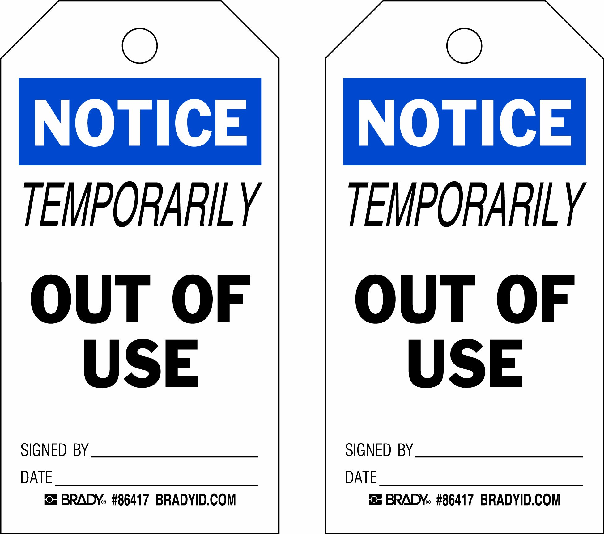 Brady  86417 5 3/4'' Height x 3'' Width, Heavy Duty Polyester (B-837), Black/Blue on White Accident Prevention Tags (10 Tags) by Brady