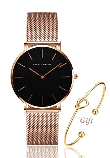 11556456f Reloj analógico de Cuarzo para Mujer de Oro Rosa, Correa de Malla de Acero  Inoxidable