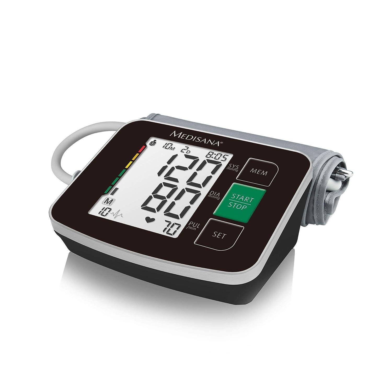 Medisana BU 516 51166 - Monitor de Presión Arterial para Brazo en Negro con Indicador de Arritmia, Clasificación de los Resultados con Código de Colores ...