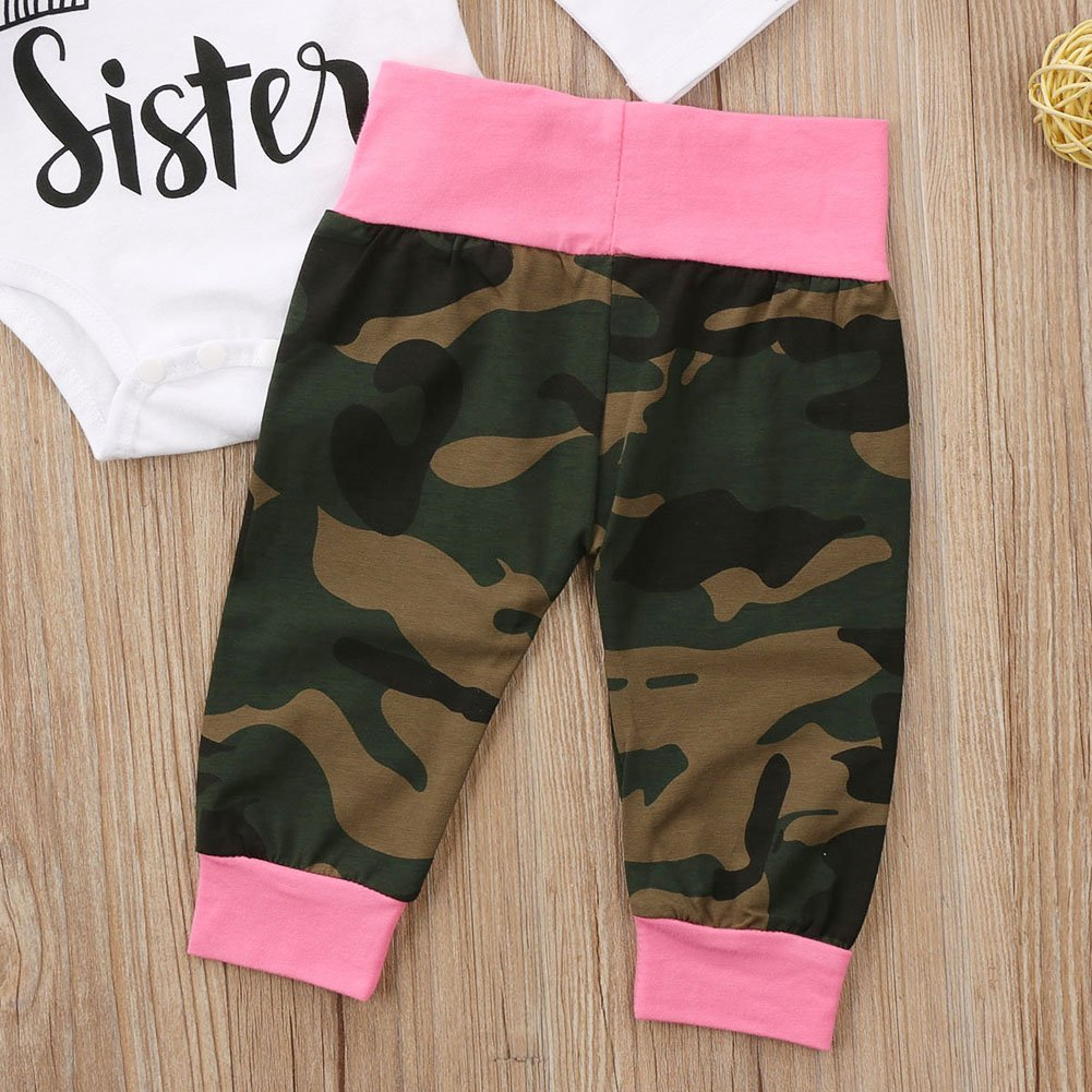 7224562e477 Amazon.com  Infant Newborn Baby Girls Little Sister Bodysuit Camouflage  Pants with Headband and Hat Outfit  Clothing