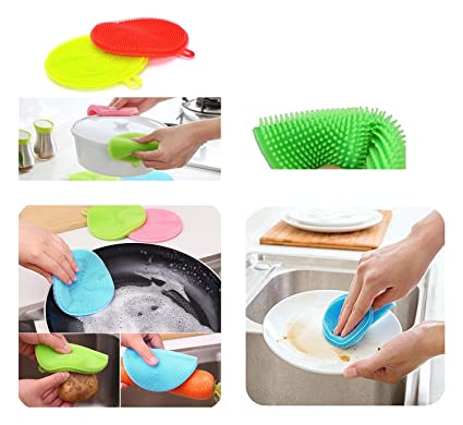 GMMH 4 Stück Set Silikon Schwamm Küche Waschen Reinigung Spülschwamm Putzschwamm Topfuntersetzer