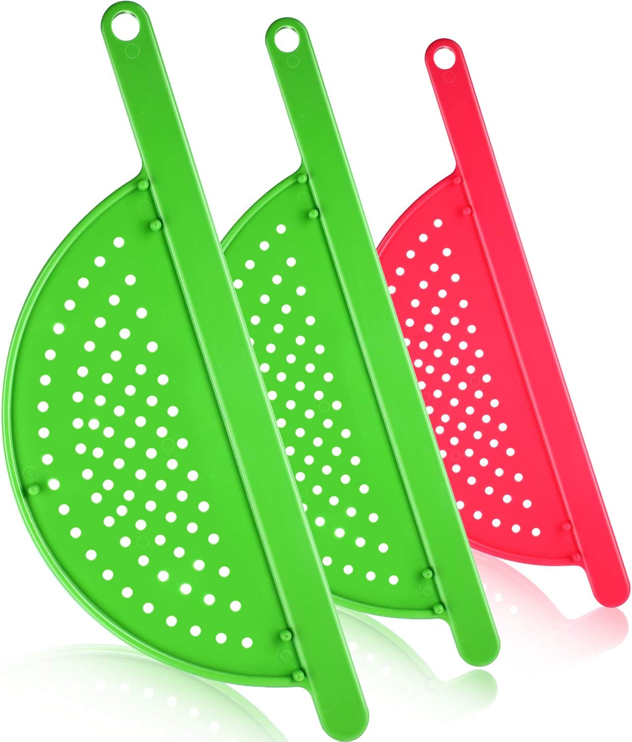 3 Pieces Pot Drainer with Handle Hand Held Pan Pot Strainer Plastic Pot Side Strainer Pasta Pot Drainers for Noddles Fruit Veggies and More, Fits up to 9 Inches