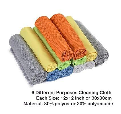 Un conjunto de 12 toallas 30x30cm limpiadoras con efecto completo, hechas de 6 materiales diferentes que cada uno tiene sus propias características.